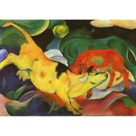 Cows Yellow Red Green by Franz Marc oil painting art gallery
