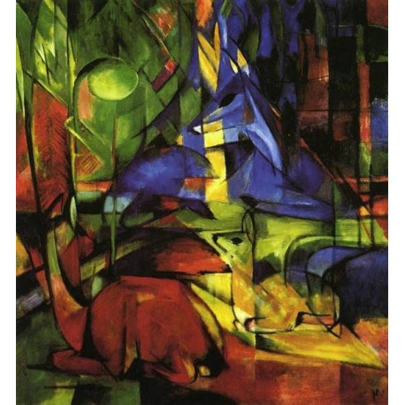 Deer In The Forest II by Franz Marc oil painting art gallery