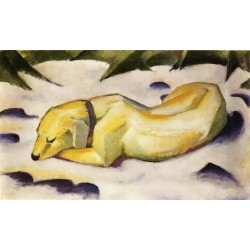 Dog Lying In The Snow by Franz Marc oil painting art gallery