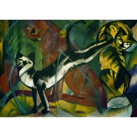 Drei Katzen by Franz Marc oil painting art gallery