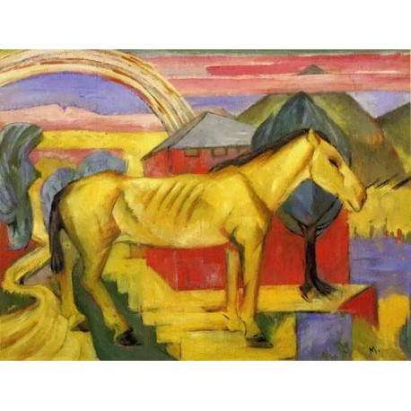 Long Yellow Horse by Franz Marc oil painting art gallery