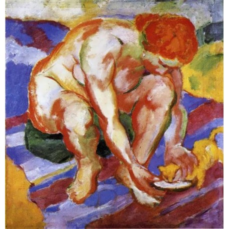 Nude With Cat by Franz Marc oil painting art gallery
