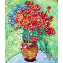 Vase with  Daisies & Poppies by Vincent Van Gogh