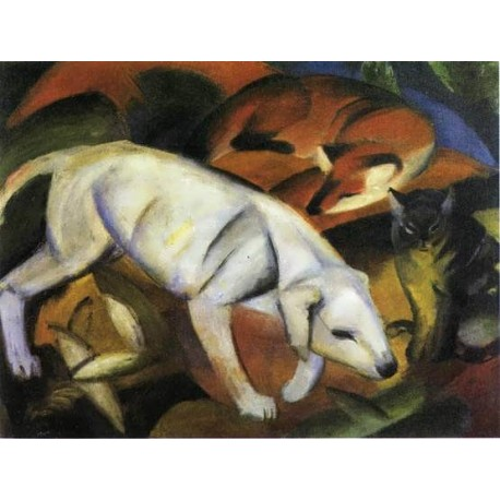 Three Animals (Dog, Fox And Cat) by Franz Marc oil painting art gallery