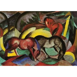 Three Horses by Franz Marc oil painting art gallery