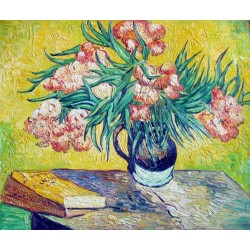 Vase with Oleanders and Books by Vincent Van Gogh