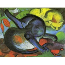 Two Cats, Blue And Yellow by Franz Marc oil painting art gallery