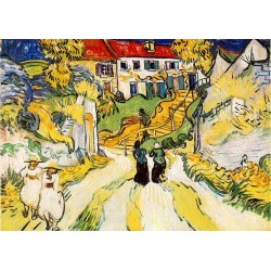 Village Street and Stairs with Figures by Vincent Van Gogh