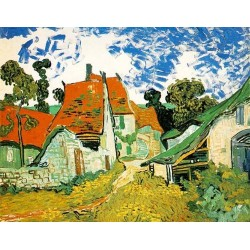 Village Street in Auvers by Vincent Van Gogh - Art gallery oil painting reproductions