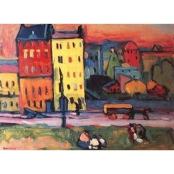 Houses in Munich 1908 by Wassily Kandinsky oil painting art gallery