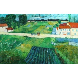 A Road in Auvers After the Rain-border by Vincent Van Gogh - Art gallery oil painting reproductions