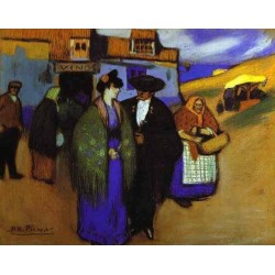 A Spanish Couple infront of an Inn by Pablo Picasso oil painting art gallery