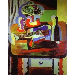 Guitar Bottle Bowl with Fruit and Glasson Table by Pablo Picasso oil painting art gallery