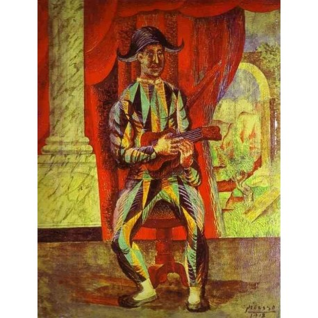 Harlequin with a Guitar by Pablo Picasso oil painting art gallery