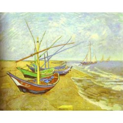 Barques Sur La Plage,Fishing Boats-border by Vincent Van Gogh - Art gallery oil painting reproductions