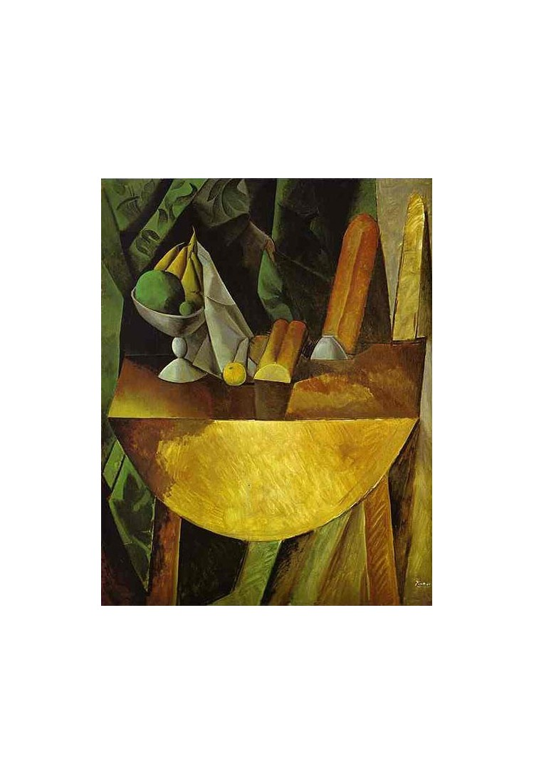 Bread And Fruit Dish On A Table By Pablo Picasso Oil