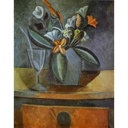 Flowers in a Grey Jug and Wine by Pablo Picasso oil painting art gallery