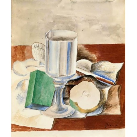 Still Life with Glass and an Apple by Pablo Picasso -oil painting art gallery