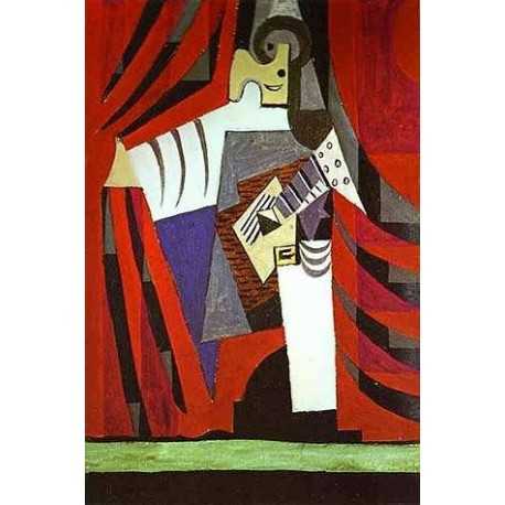 Polichinelle with Guitar Before the Stage Curtain by Pablo Picasso oil painting art gallery