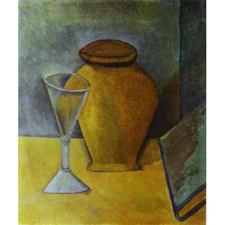 Pot Wine Glass and Book by Pablo Picasso oil painting art gallery
