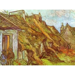 Cottages at Chaponoval. Auvers sur Oise by Vincent Van Gogh - Art gallery oil painting reproductions