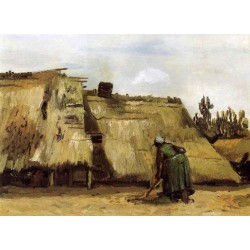 Cottages with Woman Digging by Vincent Van Gogh - Art gallery oil painting reproductions