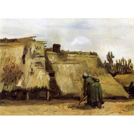 Cottages with Woman Digging by Vincent Van Gogh