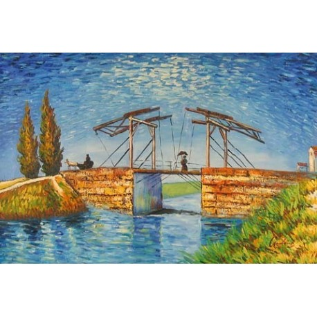 Drawbridge with Lady with Parasol by Vincent Van Gogh