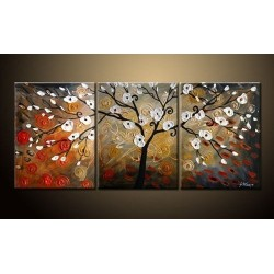 White & Red Budding | Oil Painting Abstract art Gallery