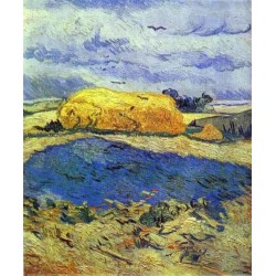 Haystack in Rainy Day by Vincent Van Gogh - Art gallery oil painting reproductions