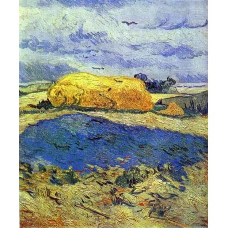 Haystack in Rainy Day by Vincent Van Gogh