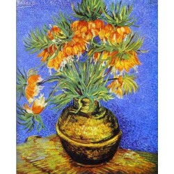 Imperial Crown Fritillaria in a Copper Vase by Vincent Van Gogh- Art gallery oil painting reproductions