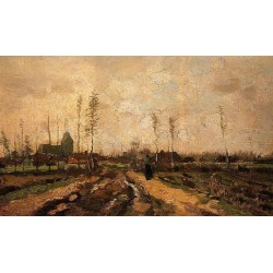 Landscape with Church and Farms by Vincent Van Gogh - Art gallery oil painting reproductions