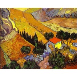 Landscape with House and Laborer by Vincent Van Gogh - Art gallery oil painting reproductions