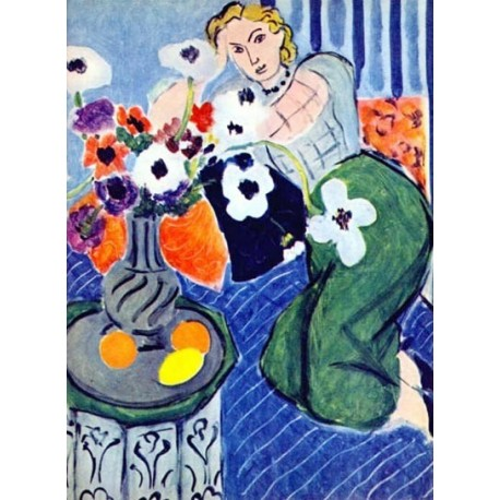 Anemones and Woman, Harmony in Blue By Henri Matisse oil painting art gallery