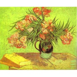 Majolica Jar with Branches of Oleander by Vincent Van Gogh - Art gallery oil painting reproductions