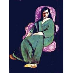 Lorette in Green Robe Black Background By Henri Matisse oil painting art gallery
