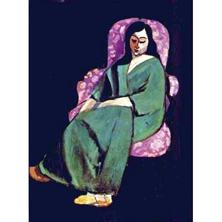 Lorette in Green Robe Black Background By Henri Matisse oil painting art gallery