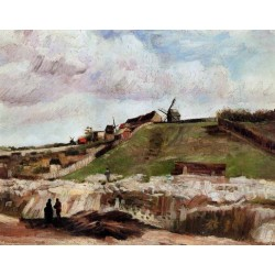 Montmartre the Quarry and Windmills by Vincent Van Gogh - Art gallery oil painting reproductions