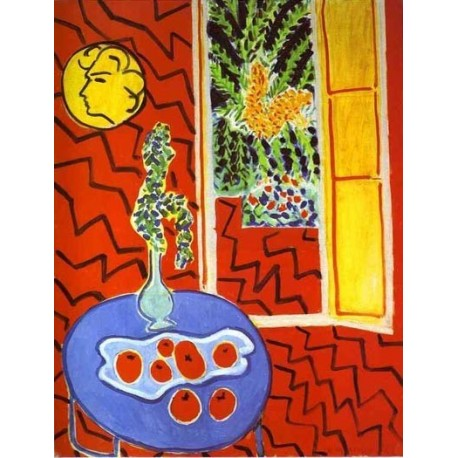 Open window matisse - Quot Red Interior Still Life On A Blue Table Quot By Henri