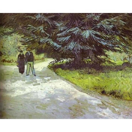Park with a Couple and a Blue Fir Tree by Vincent Van Gogh