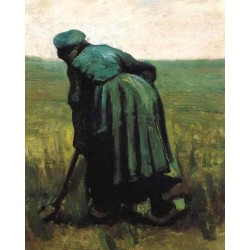 Peasant Woman Digging by Vincent Van Gogh - Art gallery oil painting reproductions