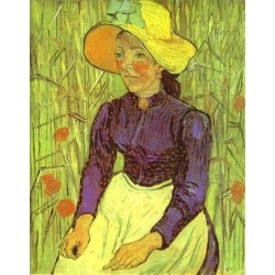 Peasant Woman with Straw Hat by Vincent Van Gogh - Art gallery oil painting reproductions