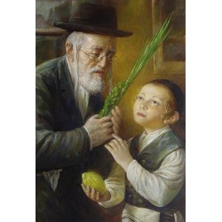 Elena Flerova - The Lesson | Jewish Art Oil Painting Gallery