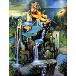 Israel Rubinstein - Fiddler on the Falls | Jewish Art Oil Painting Gallery