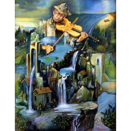 Israel Rubinstein - Fiddler on the Falls | Jewish Art Oil Painting Gallery