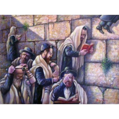Israel Rubinstein - Kotel Prayers | Jewish Art Oil Painting Gallery