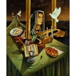 Israel Rubinstein - Lighting Shabbat Candles | Jewish Art Oil Painting Gallery