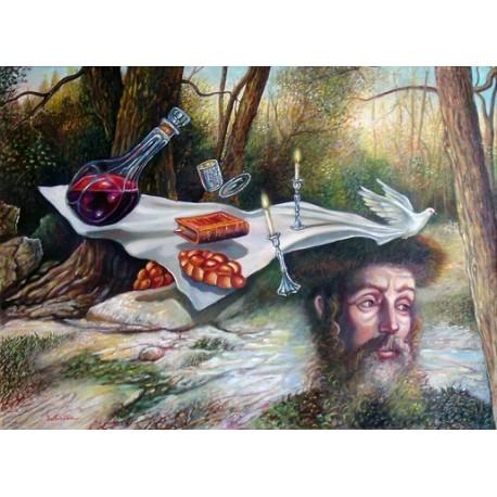 Israel Rubinstein - Rebbes Tisch | Jewish Art Oil Painting Gallery