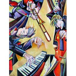 Israel Rubinstein - Jazz Band | Jewish Art Oil Painting Gallery